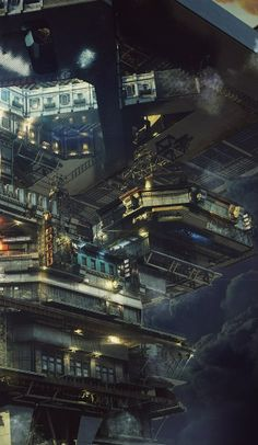 "rhubarbes: "" Offshore on Behance by Maxim Goudin More art here. Arte Cyberpunk, Cyberpunk City, Futuristic City, Landscape Concept, City Landscape, Fantasy Landscape, Environment Concept Art, Environment Design, Blade Runner"