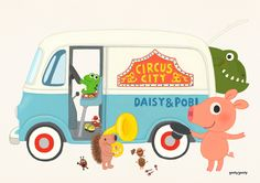 CIRCUS CITY by goolygooly Simple Character, Character Design, Circus City, Cute Cars, Love Painting, Cute Illustration, Cartoon Drawings, Pretty Pictures, Animals And Pets