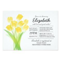 zazzle Modern Typographic Yellow Tulip Bridal Shower 5x7 Paper Invitation Card