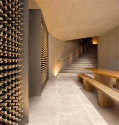 Menos é Mais Arquitectos, Fernando Guerra / FG+SG · Quinta do Vallado Winery Contemporary Architecture, Interior Architecture, Interior Design, Restaurant Design, Design Hotel, Caves, Modern Landscape Lighting, Bar A Vin, Wine Cellar Design