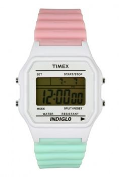Pink and Mint Tri Colour Watch by Timex 80