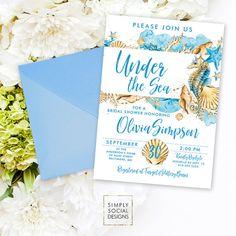 Beach Bridal Shower Invitation - Under the Sea Bridal Shower Invitation Seahorse Seashell Starfish Coral Boho Sun Sand Watercolor Printable