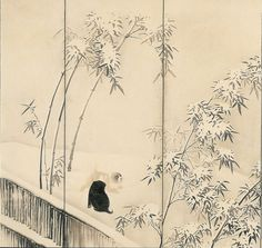 Detail. Maruyama Okyo. Puppies among Bamboo in Snow. Japanese folding screen.