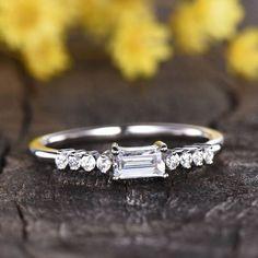 Baguette cut Moissanite Engagement Ring Women Dainty | BBBGEM Antique Wedding Rings, Antique Rings, Moissanite Wedding Rings, Tiny Rings, Minimal Jewelry, Emerald Cut Diamonds, Gold Style, Bridal Rings, Baguette