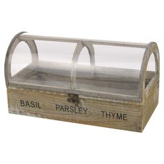 Wooden Seed Herb Pots Shabby Chic Box Trough Indoor Kitchen Window Sill With Lid #EGT