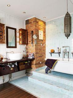 Koti myytävänä Ruotsissa - A Home for Sale in Sweden Stadshem . Interior And Exterior, Interior Design, Bathroom Inspiration, Bathroom Ideas, Laundry In Bathroom, Take Me Home, Exposed Brick, Amazing Bathrooms, Kitchen And Bath
