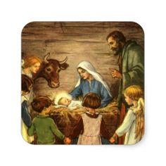 Vintage Religious Christmas, Nativity, Baby Jesus Sticker