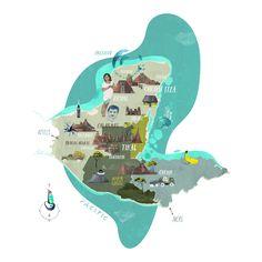 Illustrated Map of the Maya area. Yucatan, Guatemala, Belize, Honduras. Tilo Richter / Illustrator / Hamburg GER