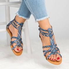 Floral flat ankle strap peep toe casual gladiator sandals- a Toe Ring Sandals, Blue Sandals, Ankle Strap Heels, Ankle Strap Sandals, Shoes Sandals, Sandals 2018, Slipper Sandals, Fashion Sandals, Toe Rings