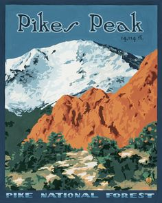 Pikes Peak - Gouache on Pressed Board.  Original art and high quality goache prints by Julie Leidel.  See (and maybe even buy) her work at www.bungalowcraft.com.