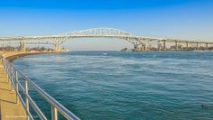 Ice flows at the Blue Water Bridge Port Huron Michigan. #Michigan, #Blue Water Bridge,#river,