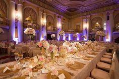 Elegant wedding using texture, great lighting and beautiful centerpieces