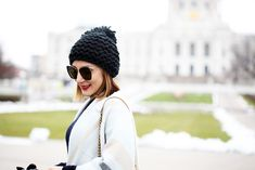 Blame it on Mei Miami Fashion Travel Blogger 2016 Winter Fall Look Open Front Poncho Gray Cape Pom Pom Beanie Black Over The Knee Boots Chanel Boy Minneapolis State Capitol Travel Blogger
