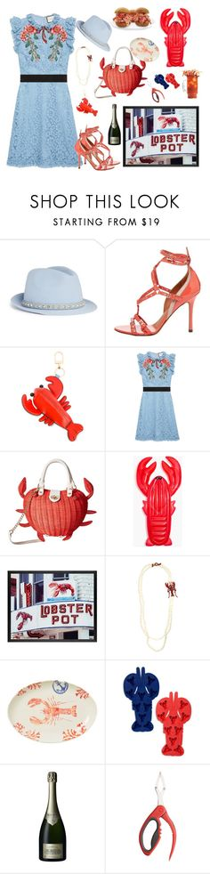 """""""Shrimp Cocktail"""" by juliabachmann ❤ liked on Polyvore featuring Valentino, Tory Burch, Gucci, Betsey Johnson, Madewell, Pottery Barn, Heidi Daus, Vietri, Sunnylife and Krug"""
