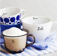 Löytyykö astiakaapistasi parittomia posliinikuppeja? Tee niistä kauniita mittoja.