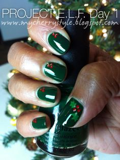 "My 31day project for this holiday month - a makeup/nail art/fun idea every day this Dec! This is Day 1 - ""Holly-Day Nails"""