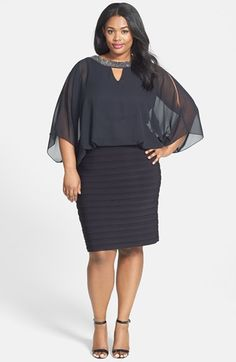 Xscape Embellished Chiffon Shutter Pleat Cocktail Dress (Plus Size) available at #Nordstrom