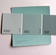 You can see the difference between Benjamin Moore Wythe Blue HC-143 (in the centre) and Benjamin Moore Colour Stories Antique Glass CSP-695. Wythe Blue contains grey in the colour which tones down the intensity level.