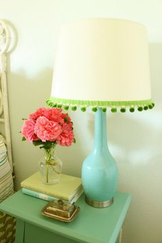 I love these colours! A bedside table only needs a few books, a lamp, fresh flowers & a small character piece. Beautiful & simple!