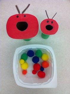 PreK Sorting task:: big/small ... Caterpillars for BUGS unit