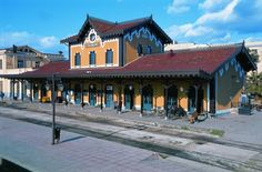Railway station of Volos town, Magnesia region Thessaly, Greece Going Away, Public Transport, Greece, The Past, To Go, Train Stations, Mansions, House Styles, City