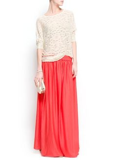 Satin long skirt in coral, indigo or emerald
