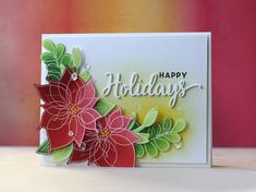 The holidays are a prime time for sending handmade Christmas, holiday, and winter cards. Share handmade holiday kindness this season and send out DIY cards. Christmas Abbott, Poinsettia Cards, Christmas Poinsettia, Christmas Tree, Winter Cards, Holiday Cards, Christmas Cards, Christmas Ideas, Flower Stamp