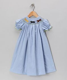 Take a look at this Blue Gingham Smocked Lab Bishop Dress - Infant, Toddler & Girls by Smockadot Kids on #zulily today!