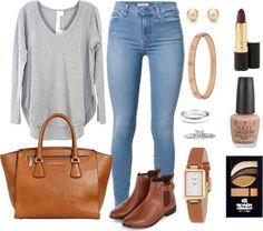 Skinny jeans sudadera gris sueter gris botas pizo miel cartera bolsa miel