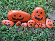 Make rocks into little pumpkins