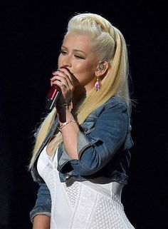 Christina Aguilera wears a country twist to be on trend with the half-up dos.