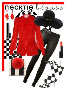 """""""Necktie Blouse - Red 'n'Chess"""" by giovanina-001 ❤ liked on Polyvore featuring AG Adriano Goldschmied, Yves Saint Laurent, Eugenia Kim, Oscar de la Renta, Les Petits Joueurs, Manolo Blahnik, Chanel and NARS Cosmetics"""