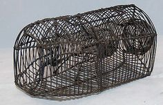 "ANTIQUE MOUSE TRAP WIRE METAL BASKET CAGE RAT TRAPPING DEVICE 8"" long  Sold $90.00 Rat Traps, Mouse Traps, Metal Baskets, Rats, Primitive, Wire, Antiques, Ebay, Antiquities"