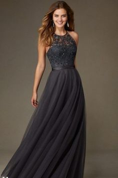 Fancy A-line Lace Tulle Floor-length Halter Sleeveless Long Bridesmaid Dresses
