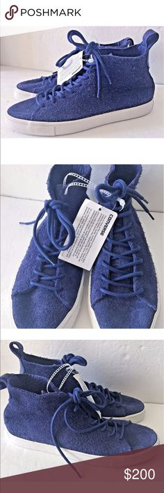 """Converse Cons Blue Suede Leather Hi Top Sneakers 9 Brand new without box. Still has converse tag on it. Size 9 in mens. Soft suede leather.  Shoes are very soft and """"floppy."""" They are not as bright blue as they appear in the photo.  Discontinued model and hard to find. Converse Shoes Sneakers"""