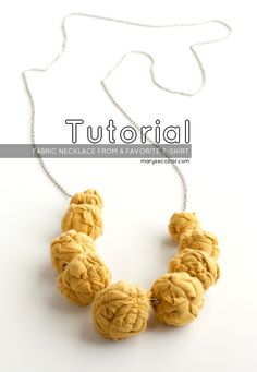 how to make a fabric bead necklace from a scrap t-shirt.
