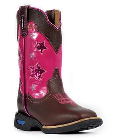 Another great find on #zulily! Brown & Pink Star Light-Up Leather Western Boot by Cinch WRX #zulilyfinds