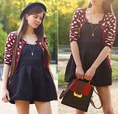 6ks Burgundy Heart Cardigan, Oasap Vintage Bag, Romwe Black Skirt