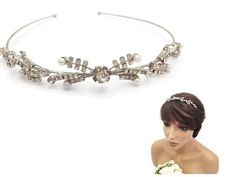 Vintage Look Tiara Band Delicate Crystal Diamante and Pearl Bridal Prom