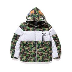 ADIDAS SHARK DOWN JACKET MENS ($100) ❤ liked on Polyvore featuring men's fashion, men's clothing, mens clothing and men's apparel