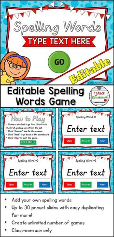 DIY: Create a spelling word game for your classroom with this editable powerpoint game.