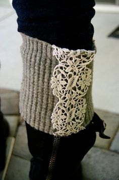 upcycle a sweater w/ lace details for boot socks
