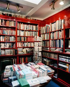 March 2013 Issue Photo - Books arranged on red shelves in a retail environment. I LOVE bookstores!
