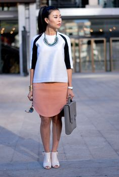 marissa webb top and carven skirt outfit