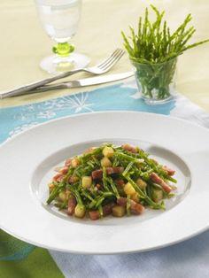 Salade de Salicornes au balsamique, petits lardons et dés de pomme de terre rissolées | Savéol