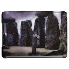 Vintage 1960's travel photograph of stonehenge in purple tinted digital art.