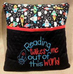"Offering this reading / bed pillow for children, inspired by rocket ship fabric. A ""reading"" pillow is a great way to encourage a child or kid and make it fun to read. There is no better way to curl up with a good book than with a comfy pillow! Tuck a favourite book, e-reader and"