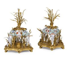 A pair of Louis XV ormolu-mounted Meissen porcelain brûle-parfums, circa 1740.