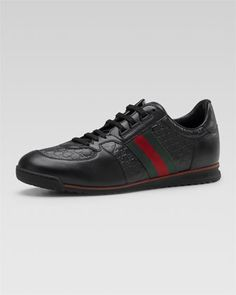 """SL73 Micro Guccissima lace-up leather sneaker. 0.8"""" flat heel. Signature web detail at sides. Rubber sole. Leather lining and insole. Made in Italy."""