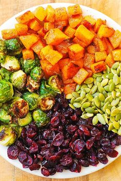 32 Fall Recipes With No Meat Or Dairy - Maple Butternut Squash, Roasted Brussels Sprouts, Pumpkin Seeds, and Cranberries Thanksgiving Side Dishes, Thanksgiving Recipes, Fall Recipes, Whole Food Recipes, Cooking Recipes, Sprouts Salad, Brussel Sprout Salad, Brussels Sprouts, Vegetable Recipes